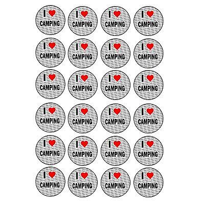 Ich Liebe Camping 24 Stickers - Handwerk Belohnung Partybeutel Strumpffüller