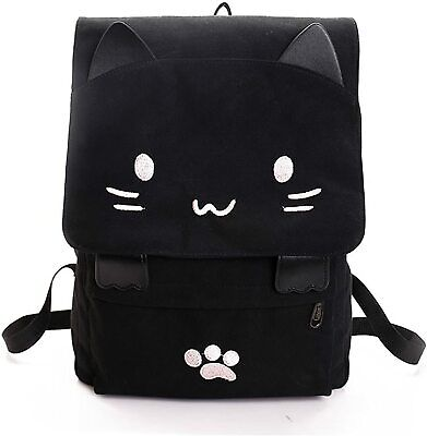 Brand New Cute Canvas Embroidered Cat Print Backpack Travel Rucksack Bag