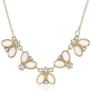 "Kate Spade Women Floral Fete Mini Necklace 16"" + 2"" extender Gold/Cream/Clear"