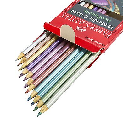 12 Color Box Metallic Colored Pencils Eco-Friendly Adult Coloring Premium Art  - Metallic Colored Pencils
