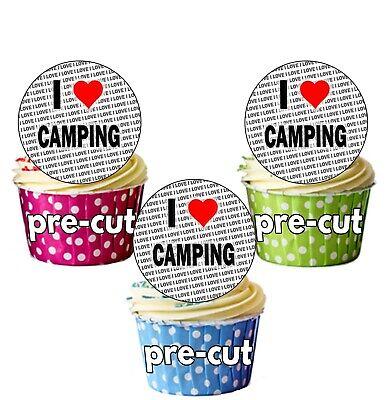Ich Liebe Camping - 24 Essbar Kreis Cupcake Deckel Kuchen Dekoration