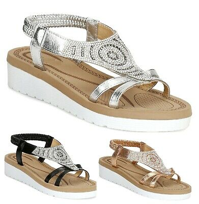 WOMENS SUMMER SANDALS BEACH HOILDAY LADIES DIAMANTE COMFORT FLAT LIGHTWEIGHT SZ