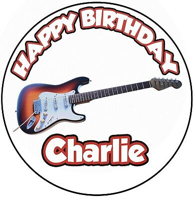 Personalizado Guitarra Eléctrica Glaseado Cumpleaños Decoración de Tartas 20.3cm