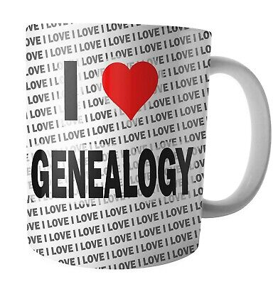 I Love Genealogy - Tea - Coffee - Mug - Cup - Birthday - Christmas