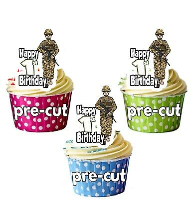 1st Birthday Cupcake Theme (1st Birthday Soldier Army Themed Precut Cup Cake Toppers Decorations Boys Son)