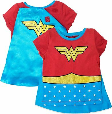 Wonder Woman Girls' Costume Tee Shirt with Cape, - Costumes With Red Capes
