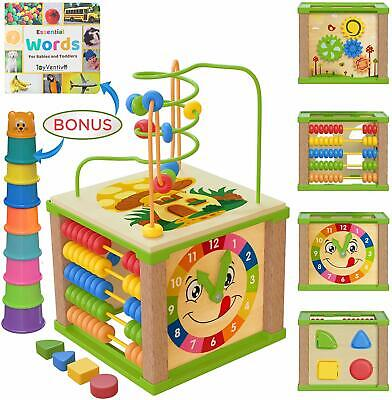 Wooden Kids Baby Activity Cube - Boys Gift Set | One 1, 2 Year Old Boy Gifts Toy