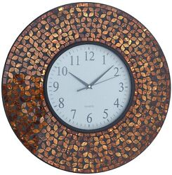 LuLu Decor 19 inch Amber Flower Mosaic Wall Clock Black Cement (LP75), New