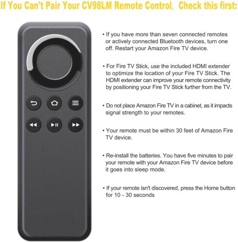 CV98LM Replacement Bluetooth Remote for Amazon Fire TV Box / TV Stick Streaming