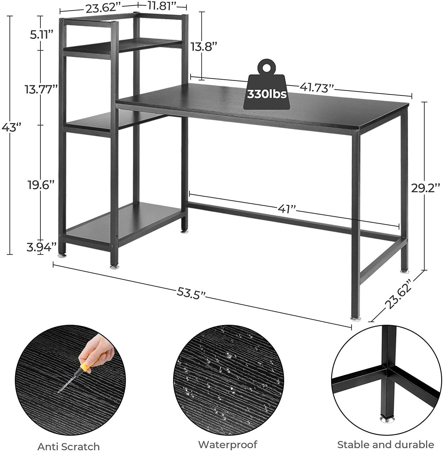 Computer Desk with 3 Tier Storage Shelf- 53.5 Inch Home Office Table, Modern Furniture