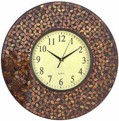Lulu Decor, 19 Amber Flower Mosaic Wall Clock with Black Cement