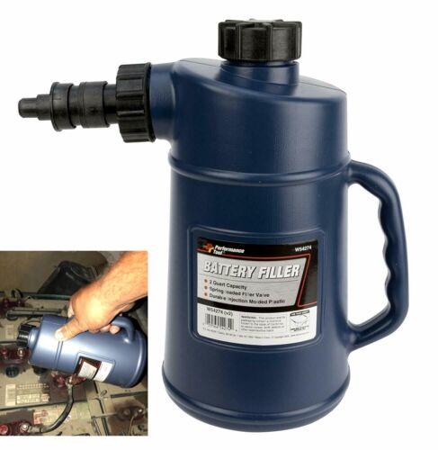 Automotive Battery Filler Bottle Jug Water Car, 2 Qt Capacity with Auto Shut Off