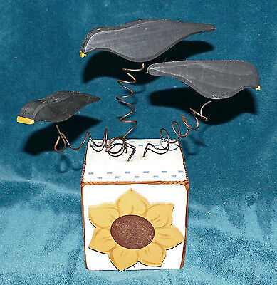 HAND CRAFTED PRIMITIVE DISTRESSED WOOD CROW TRIO ON A SUNFLOWER WOOD BLOCK!