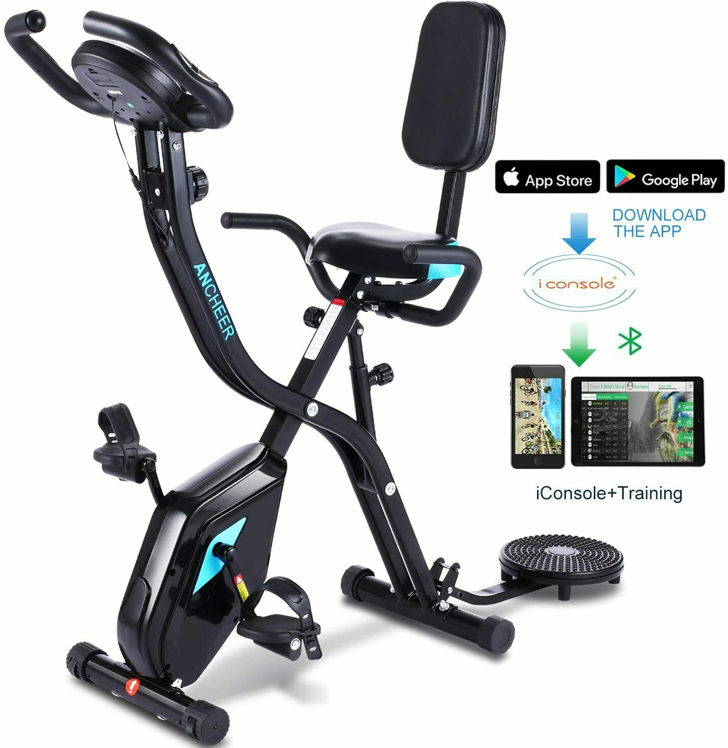 ANCHEER Indoor Exercise Slim Folding Bike 3 in1 Home Station
