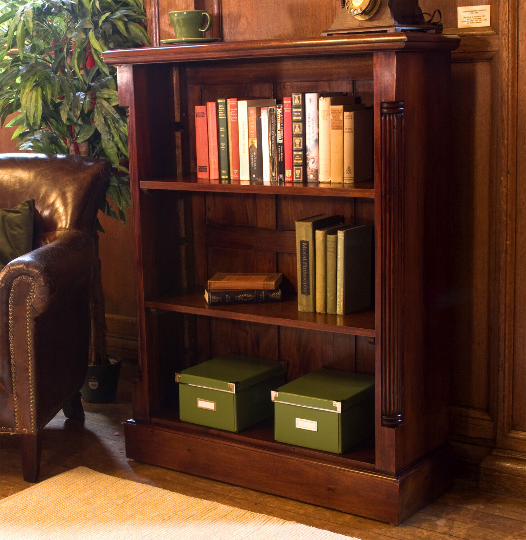 La Roque Dark Wood 3 Shelf Bookcase Low
