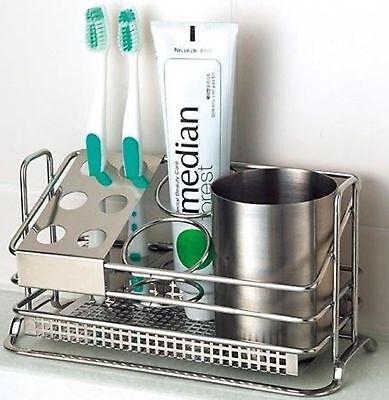 STAFIX Stainless Steel Toothbrush Holder Stands Toothpaste Storage Bathroom