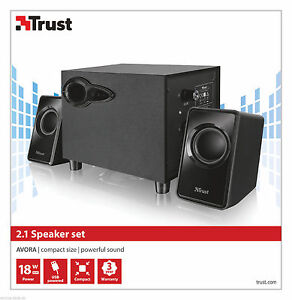 TRUST 20442 AVORA 2.1 18W MAX 9W RMS USB POWERED SUBWOOFER + 2X SPEAKER SET