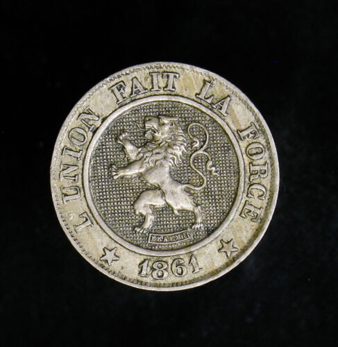 1861 Belgium 10 Centimes XF