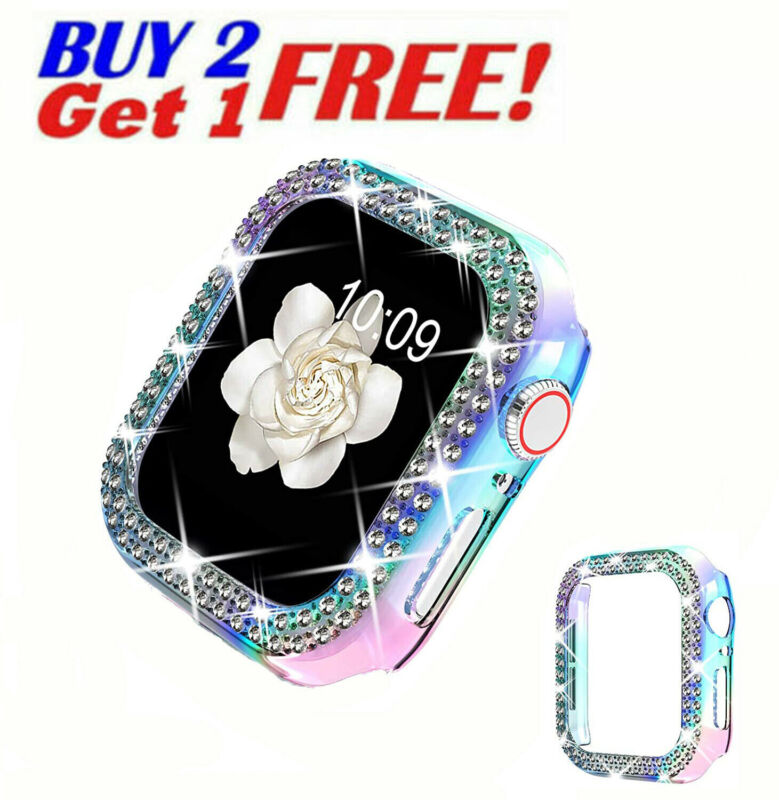 Bling Screen Protector Cover For Apple Watch 6 5 4 3 2 1 38/40/42/44mm Hard Case