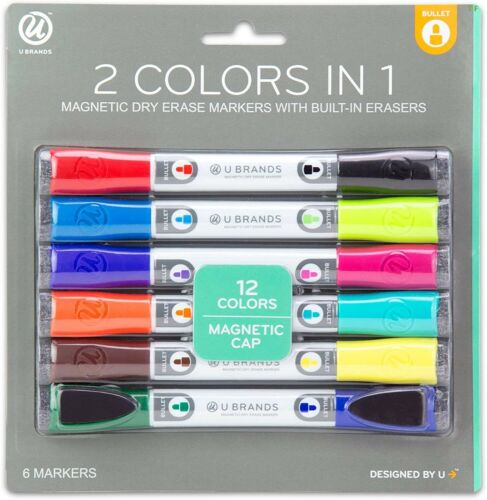 U Brands Low Odor Magnetic Double Ended Dry Erase Markers With Erasers,6-Count