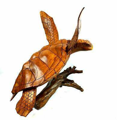 HUGE HAND CARVED WOOD TURTLE CORAL STAND NAUTICAL ART SCULPTURE REPTILE TROPICAL