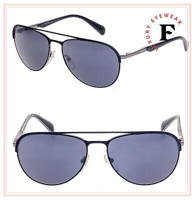 PRADA MINIMAL CONCEPT Matte Black Gunmetal Men Crystal Sunglasses 51Q PR51QS
