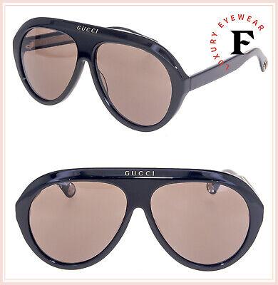 GUCCI 0479 Black Brown Aviator Vintage Unisex Sunglasses GG0479S Fashion