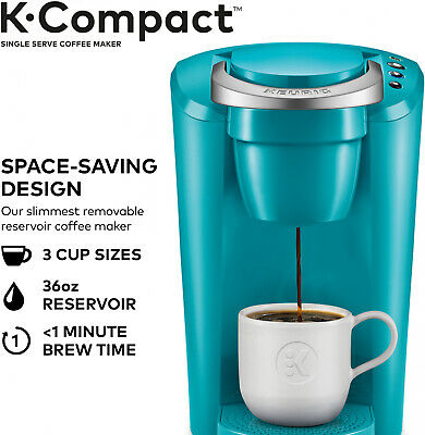 Keurig Turquoise K-Cup Pod Coffee Maker Time Saver Compact Single Serve Machine