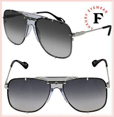 GUCCI AUTHENTIC 0739 Silver Gray Navigator Vintage Unisex Sunglasses GG0739S 001