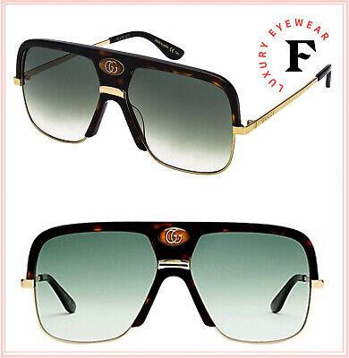 GUCCI Guilloché 0478 Gold Havana Navigator Vintage Unisex Sunglasses GG0478S 002