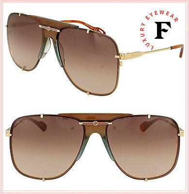 GUCCI Guilloché 0739 Gold Brown Navigator Vintage Unisex Sunglasses GG0739S 002