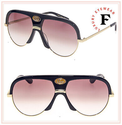 GUCCI Guilloché 0477 Black Gold Aviator Brown Vintage Unisex Sunglasses GG0477S
