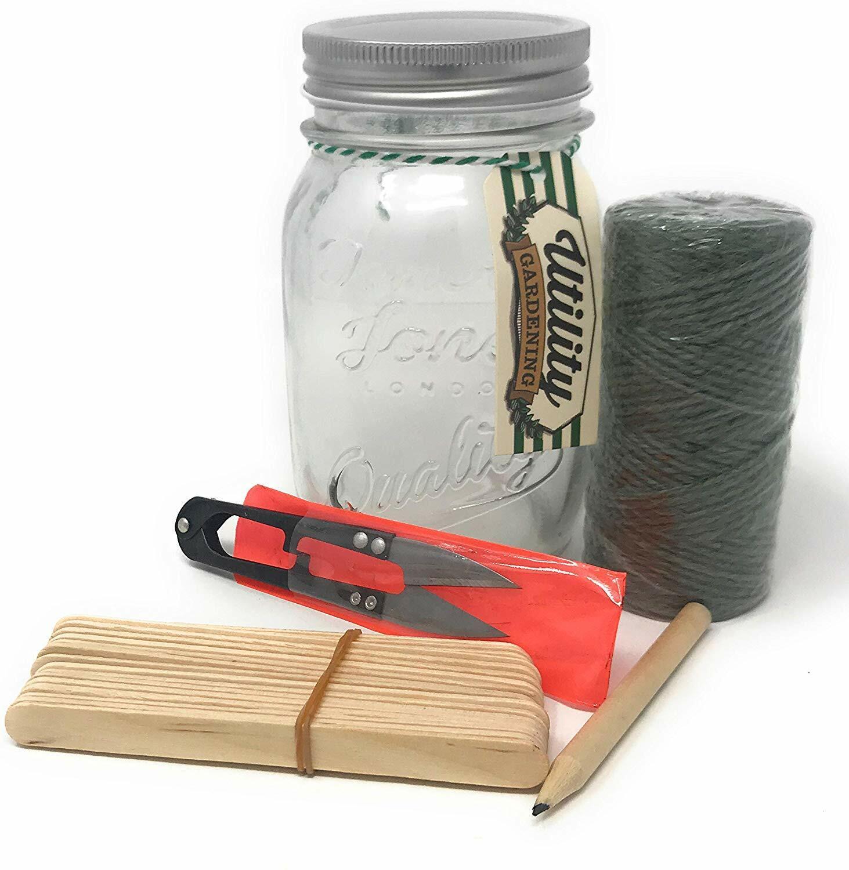 Temerity Jones Mason Jar Potting Shed Set Incl String and 18 Wood Markers Garden
