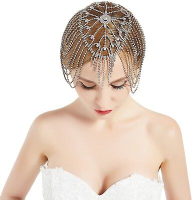 Vintage Bridal Headpiece Roaring 20s Crystal Rhinestone Flapper Cap for Wedding