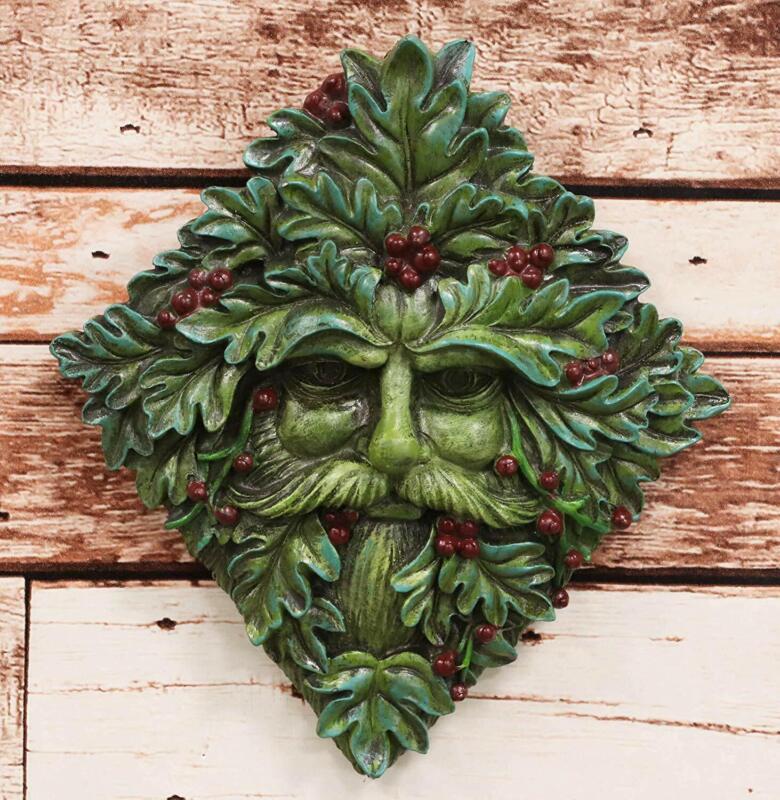 "Ebros Summer Berry Celtic Greenman Hanging Wall Sculpture Decor Plaque 9"" High"