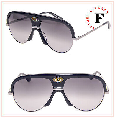 GUCCI Guilloché 0477 Ruthenium Black Aviator Vintage Unisex Sunglasses GG0477S