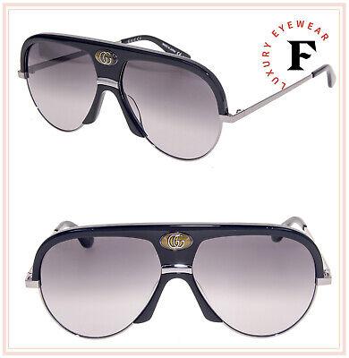 GUCCI Guilloché 0477 Ruthenium Black Aviator Vintage Unisex Sunglasses GG0477S