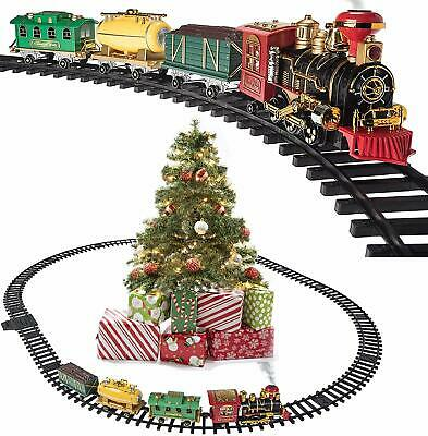 Prextex Train Set Around Christmas Tree w/Real Smoke Music & Lights