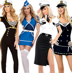 Ladies-Navy-Sailor-Pilot-Air-Hostess-Stewardess-Uniform-Fancy-Dress-Costumes-UK