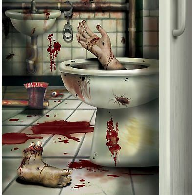 CSI Bloody Horror CREEPY CRAPPER BATHROOM DOOR COVER Psycho Halloween Decoration](Psycho Halloween Decorations)