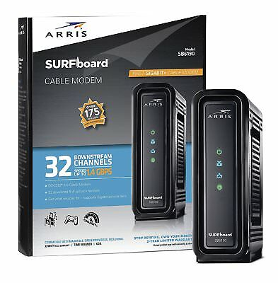 Arris Surfboard Sb6190 32X8 Docsis 3 0 Cable Internet Black Modem Gaming Stream
