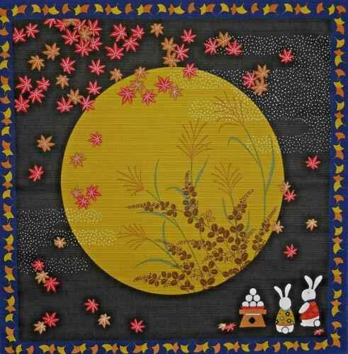 "Japanese Furoshiki Wrapping Cloth Scarf Tapestry 19.75"" Cotton Moon Usagi Rabbit"