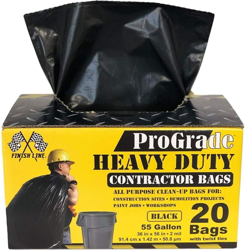 Reli. ProGrade Contractor Trash Bags 55 Gallon (20 Bags w/ Ties), Heavy Duty