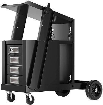 Goplus Welder Cart Mig Tig Arc Welding Plasma Cutter Tank Storage W2 Safety Ch