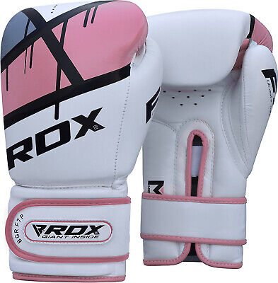 RDX Ladies Leather  Boxing Gloves Bag MMA Womens Kick Pads Mitts Muay Thai F7 ()