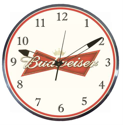 "Budweiser Beer 15"" Retro Style Metal Pam Advertising Clock LED Lighted"