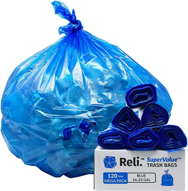 Reli. SuperValue 16-25 Gallon Recycling Bags (120 Count Bulk) Blue Trash Bags