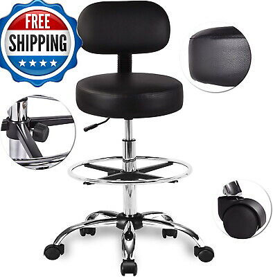 36 Extra Tall Office Drafting Chair For Standing Desk Foot Rest Ring Leather