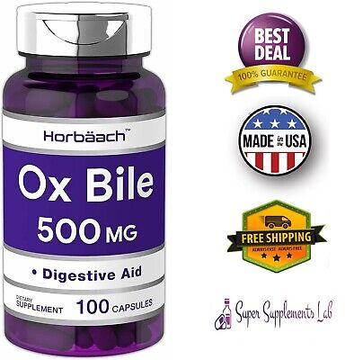Bile Salts - OX BILE 500 mg 100 Capsules Digestive Enzymes Supplement Purified Bile Salts