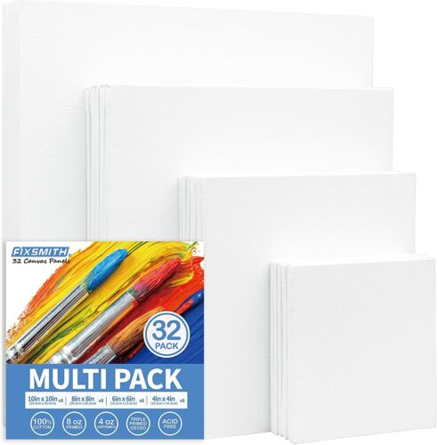 FIXSMITH Painting Canvas Panels Multi Pack-4x4,6x6,8x8,10x10 (8 of Each),32 Pack